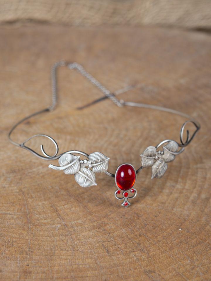 Couronne tiare avec perles rouges 3