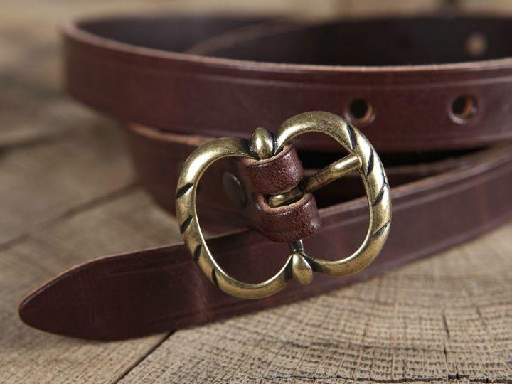 Longue ceinture médiévale en cuir à boucle double marron 3