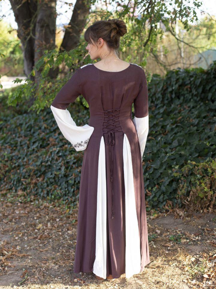Robe médiévale  bicolore avec petite broderie en marron et blanc 3