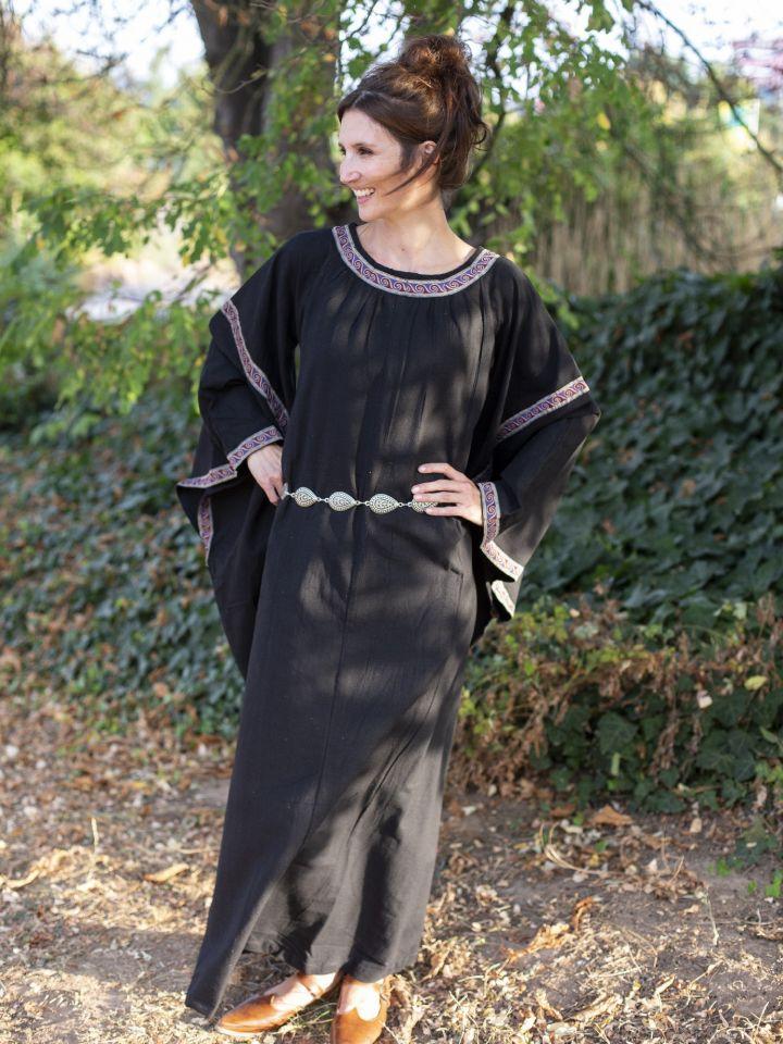 Robe Médiévale à galons, en noir 3