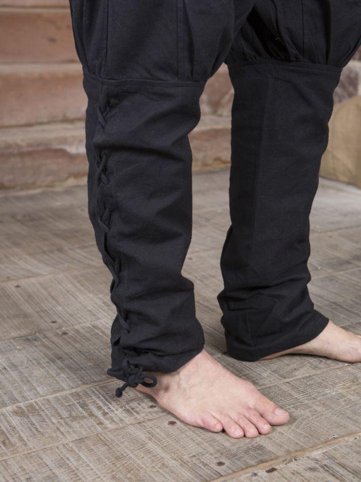 Pantalon en coton en noir M 3