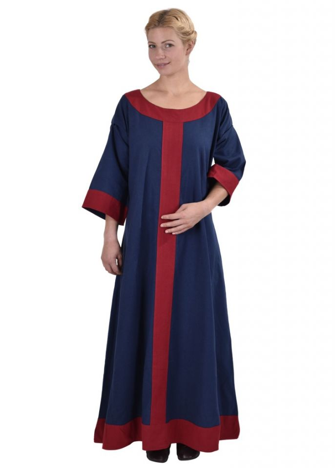 Robe médiévale Radegonde bleue-rouge 3