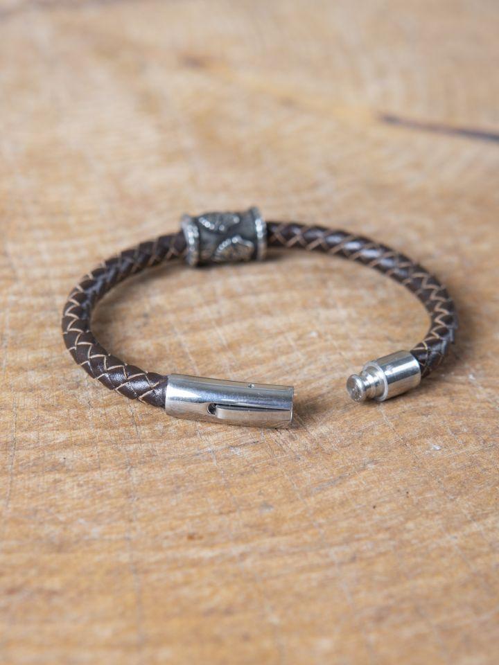 "Bracelet en cuir tressé avec perle viking ""Corbeaux d'Odin"" 3"