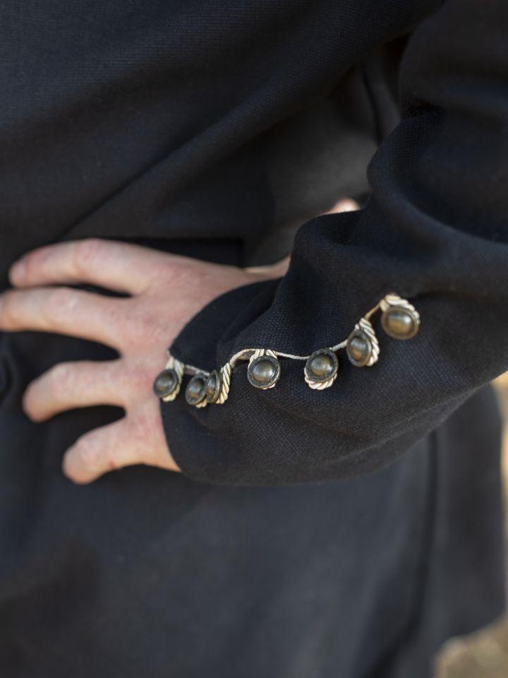 Tunique médiévale boutonnage en laiton en noir 3