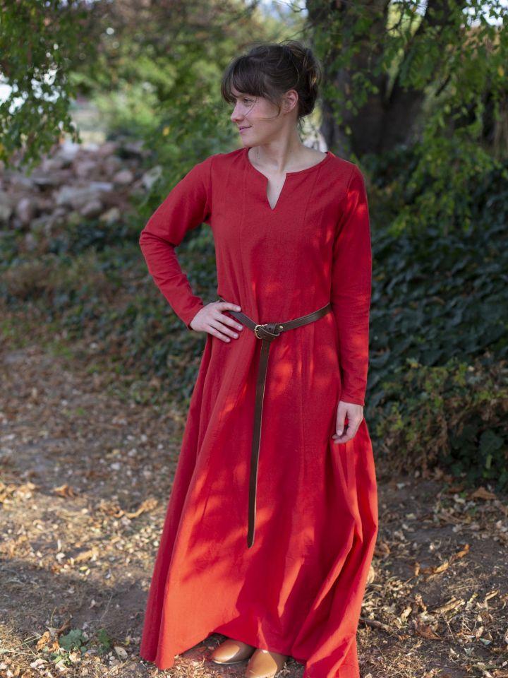 Robe médiévale simple, rouge 3