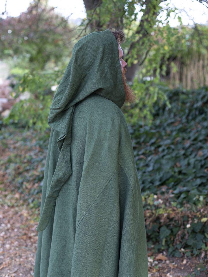 Cape en coton rustique en vert à longue capuche 3