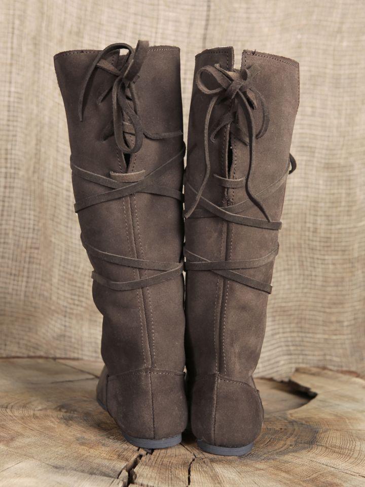 Bottes médiévales en cuir chamoisé, en marron à lacets pour homme 2