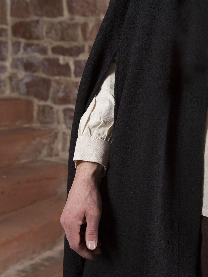 Manteau en laine à capuche en noir 150 cm 3