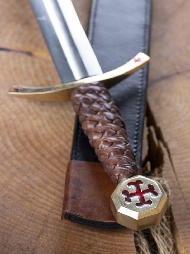 Dague des Templiers avec étui en cuir 3