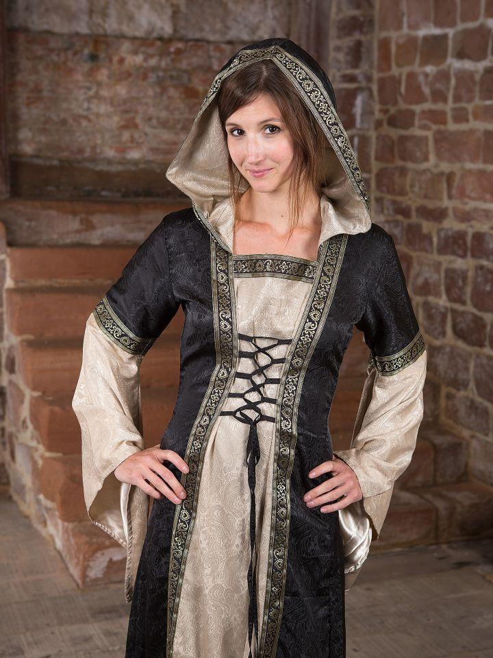 Robe médiévale avec capuche en noir et écru 3