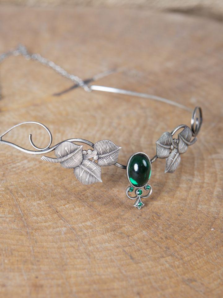 Couronne tiare avec perles vert foncé 3