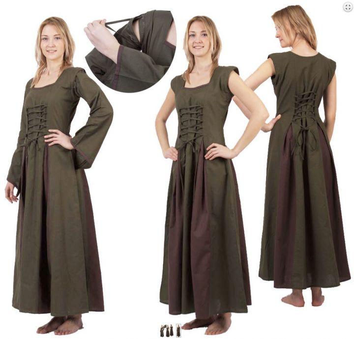 Robe Médiévale Alina en vert olive et marron 3