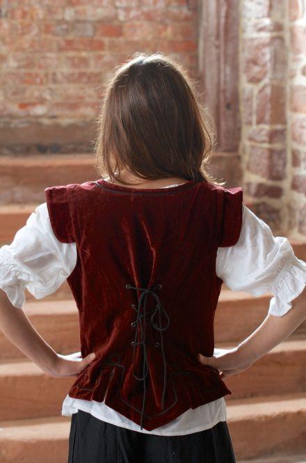 Corsage médiévale en velours rouge XL 3
