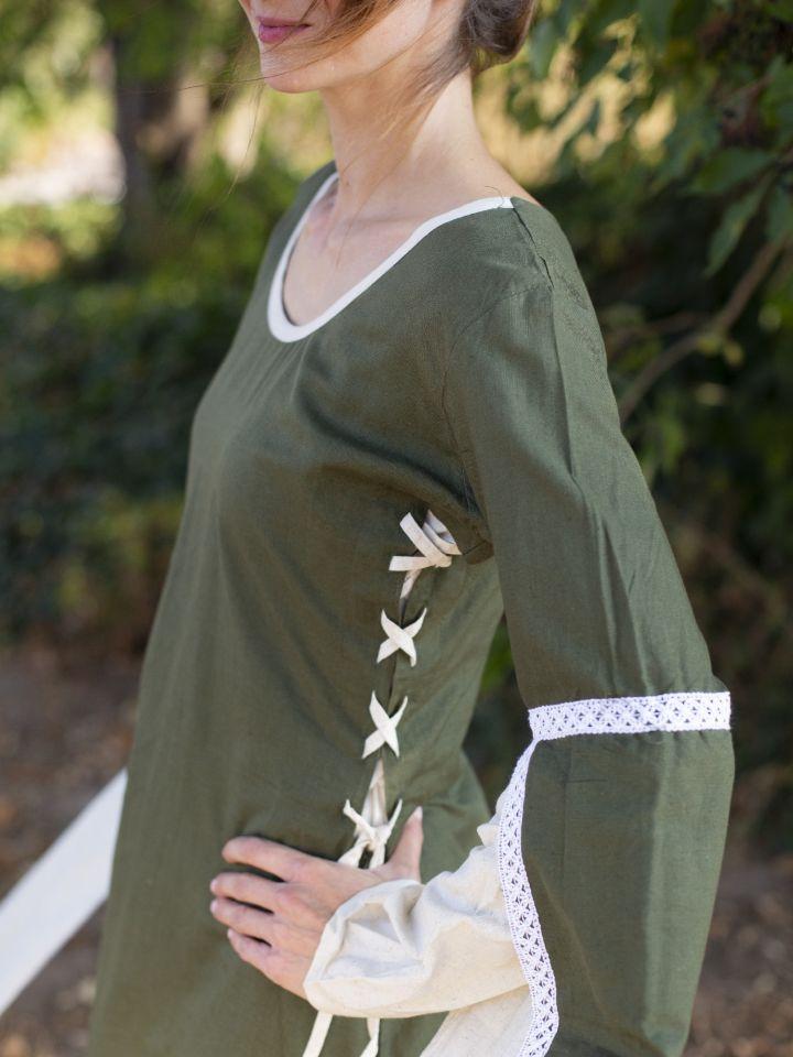 Robe médiévale manches flottantes, vert/écru 3