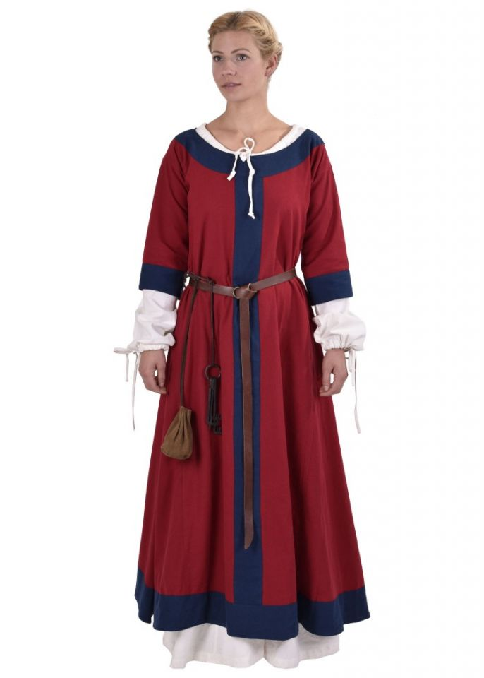 Robe médiévale Radegonde rouge-bleue 3