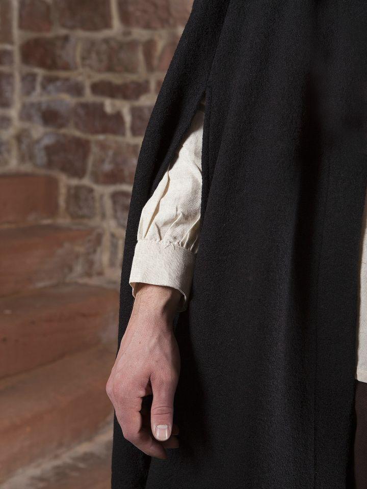 Manteau en laine à capuche en noir 3