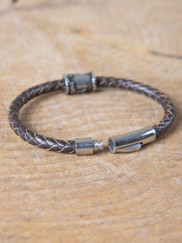 Bracelet en cuir marron avec perle Viking 3