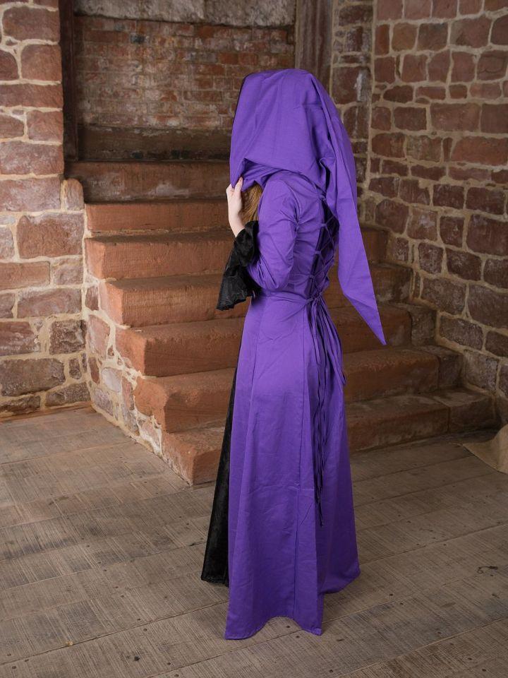 Robe médiévale Clara en noir et lilas 38 3
