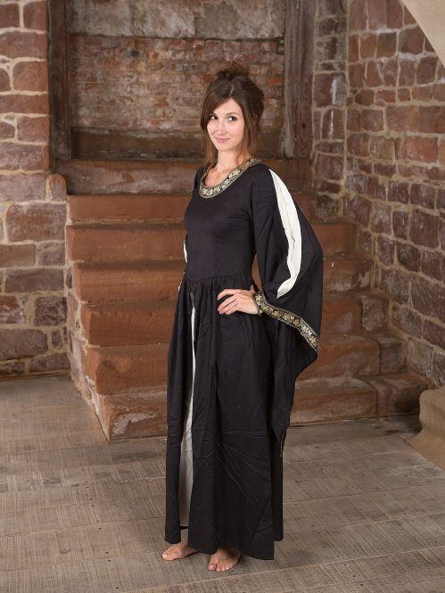 Robe médiévale à gros galons, noire et écrue S 3