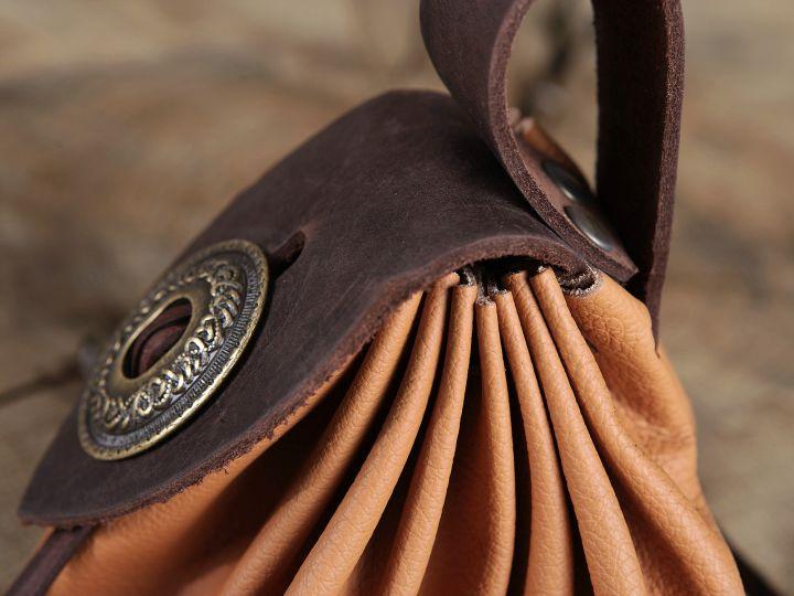 Bourse de ceinture en cuir marron clair 3