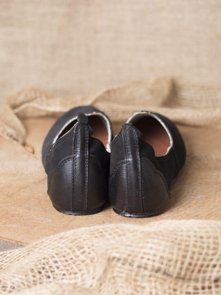 Chaussures médiévales, semelle en caoutchouc, noires 3