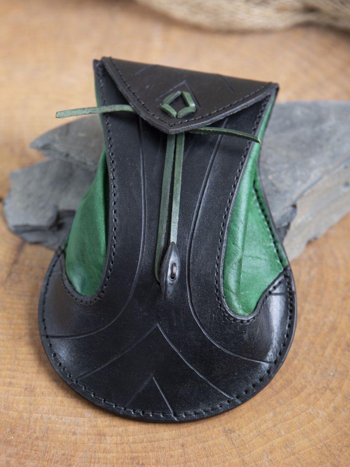 Bourse elfique en cuir épais en noir et vert 3