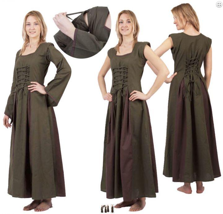 Robe Médiévale Alina en vert olive et marron S/M 3