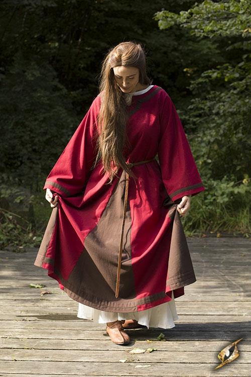 Robe médiévale Astride bicolore en marron et rouge 3