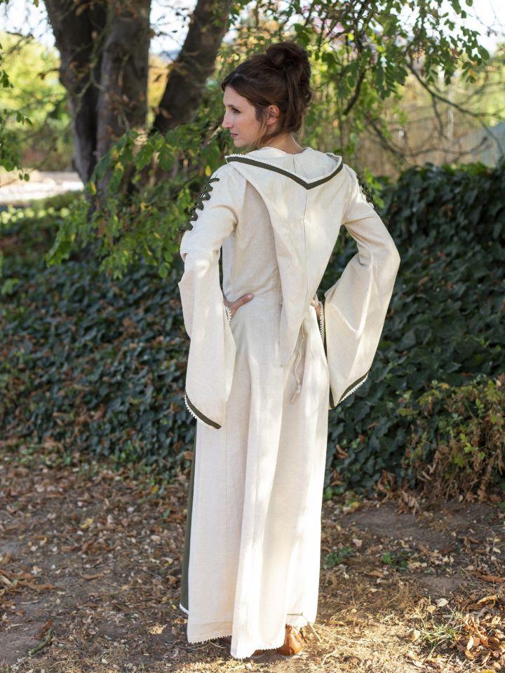 Robe médiévale bicolore à capuche en écru et vert olive 3