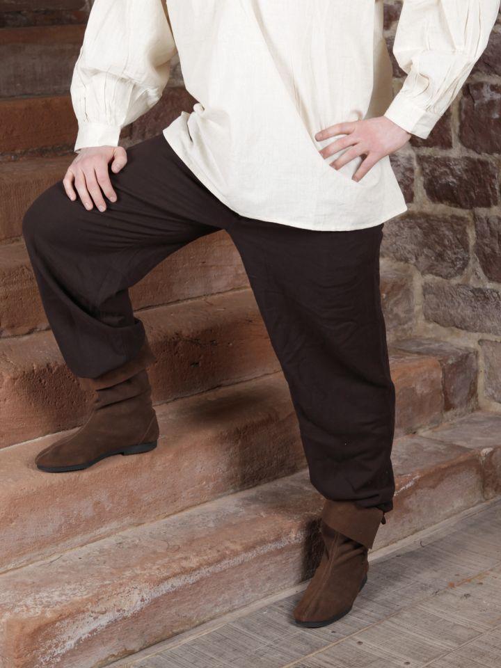 Pantalon à laçage en coton, marron foncé M 3