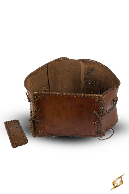 Ceinture corset en cuir, en marron 3