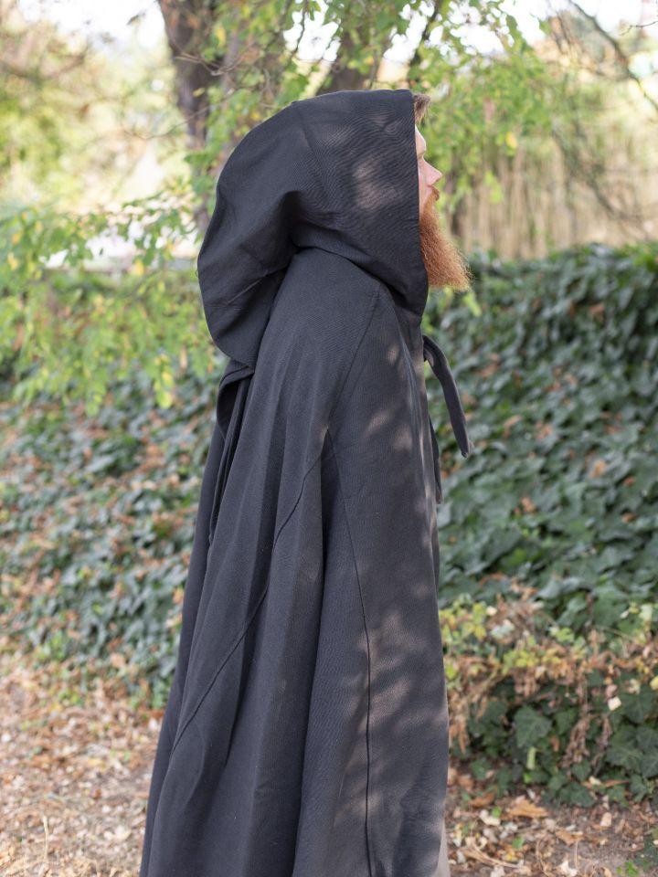 Cape en coton rustique en noir à longue capuche 3