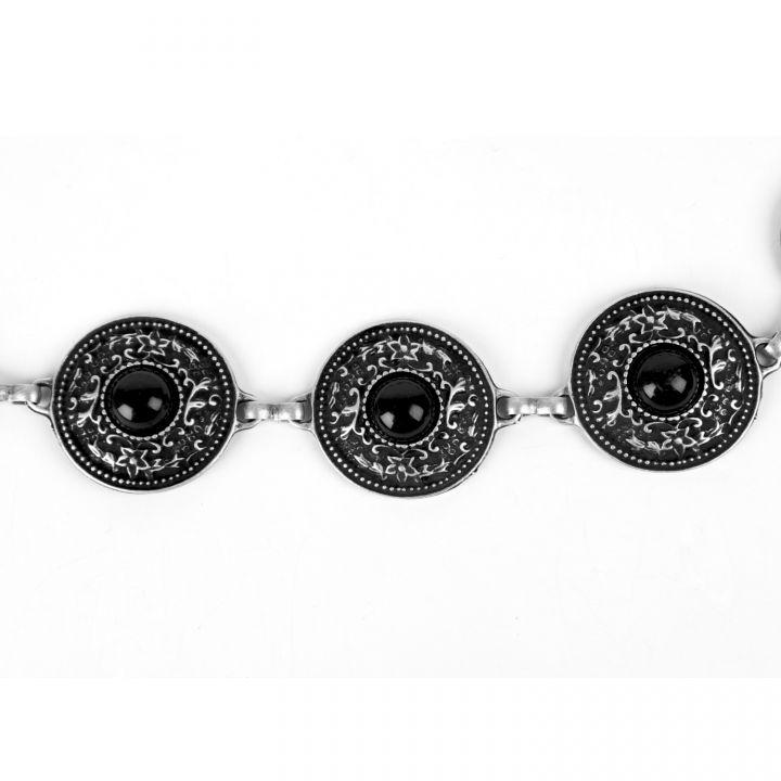 Ceinture en métal argenté avec incrustation de pierres noires 3
