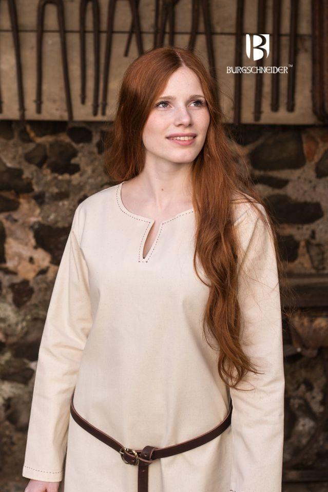 Robe en coton uni, surpiqure rouge 3