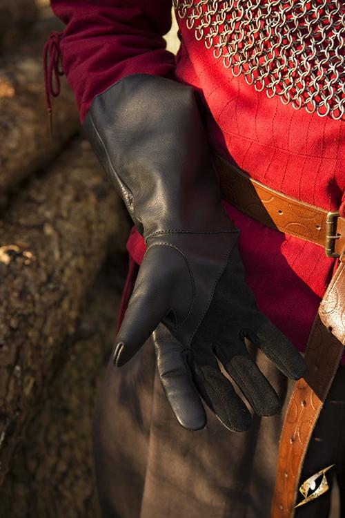 Gant de fauconnier en cuir noir - imitation 3