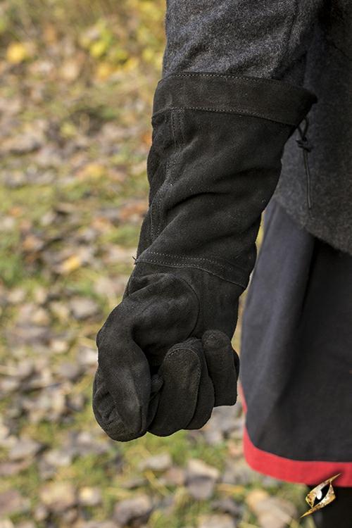 Gants en cuir suédé noir 3