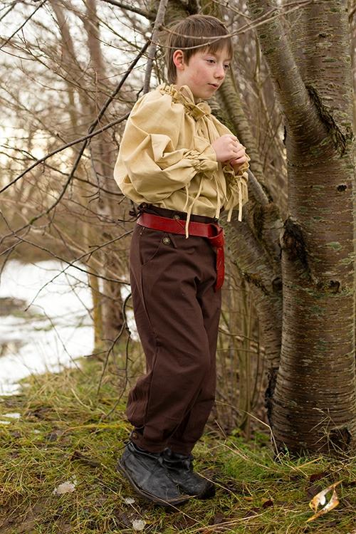 Pantalon en coton pour enfant, marron 3