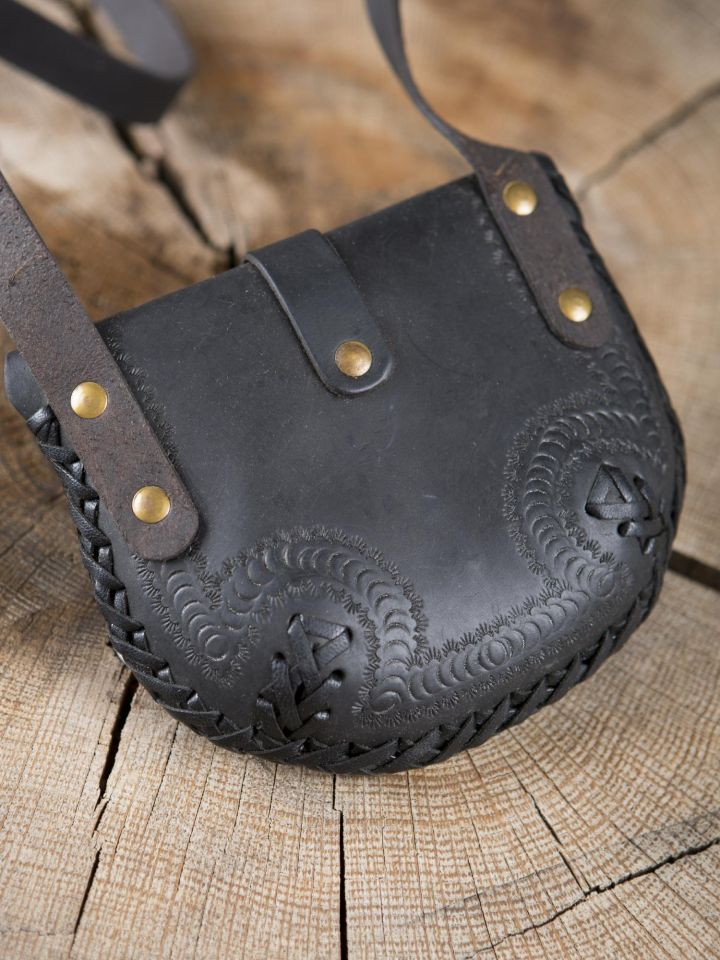 Sac en cuir noir à motifs ourlés 3