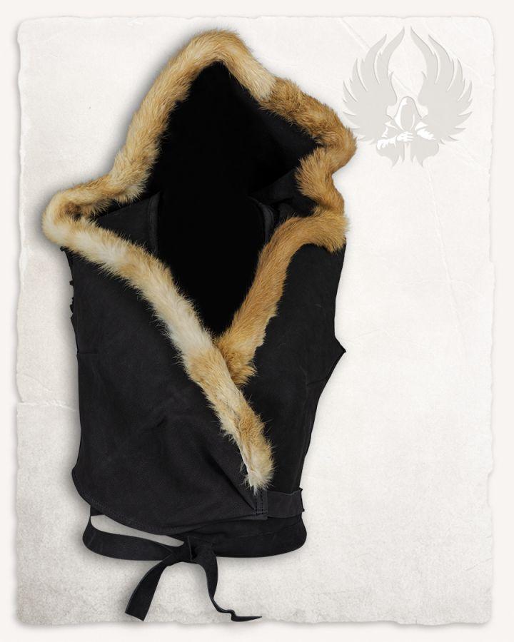 Veste à capuche en cuir noir 3