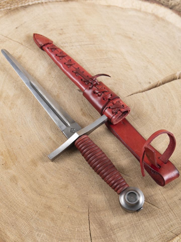 Dague pommeau disque cuir rouge 3