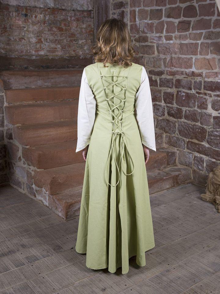 Robe médiévale Jacqueline en crème et vert clair 3