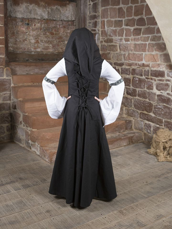 Robe médiévale Irmel en noir et blanc 3