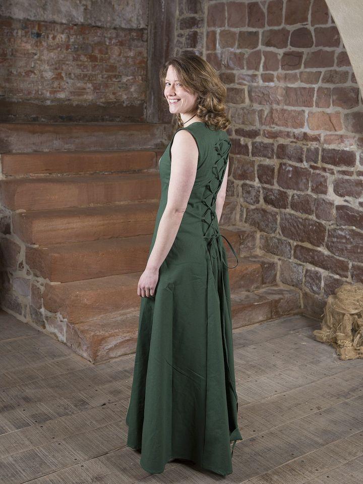 Robe médiévale Yunie en vert olive 3