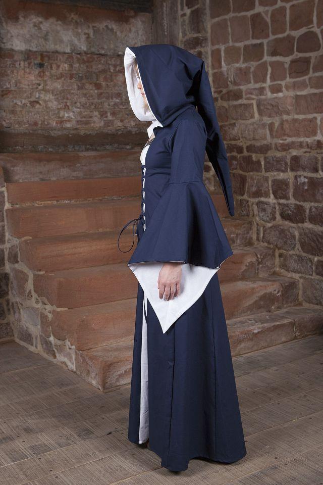 Robe médiévale Lucia en bleu et blanc 3