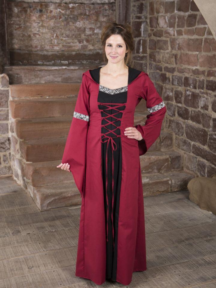 Robe médiévale Helena en rouge et noir 3