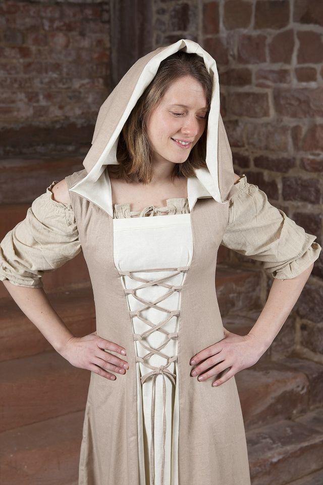 Robe médiévale Loris en blanc et crème 3