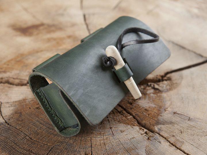 Sacoche de ceinture en cuir, porte flacons en vert 3