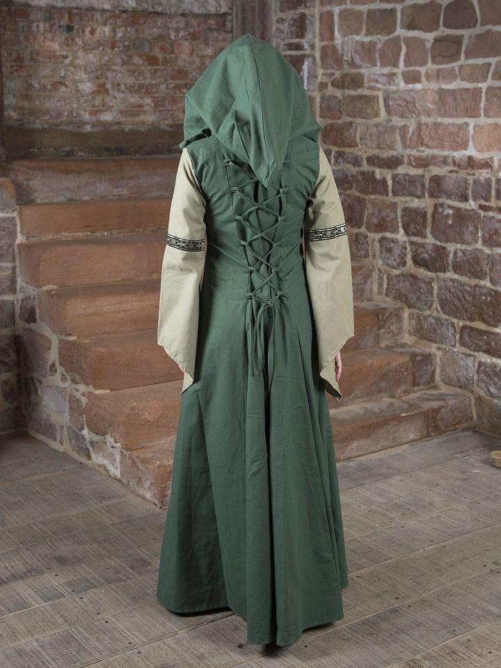 Robe médiévale Irmel en vert olive 3