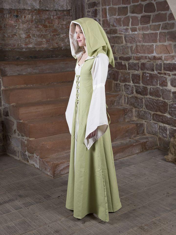 Robe Médiévale Irmel en citron-vert et blanc 3