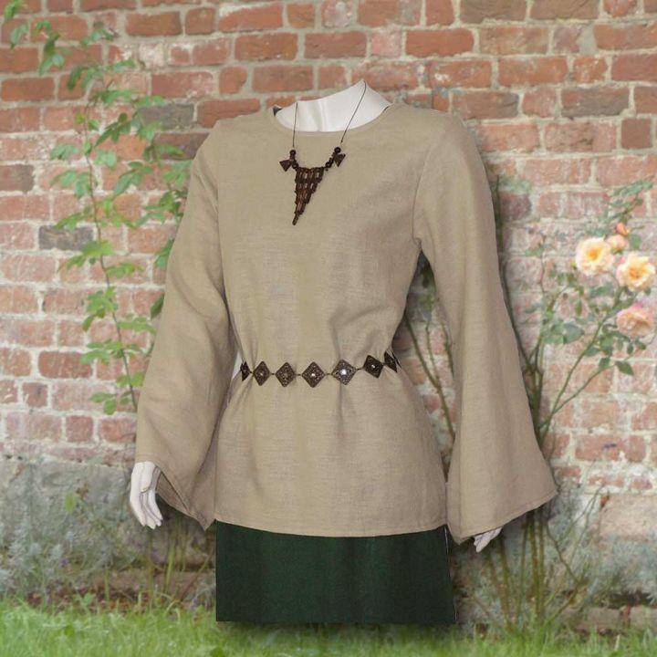 Ensemble robe médiévale verte et blouse Othilie 3